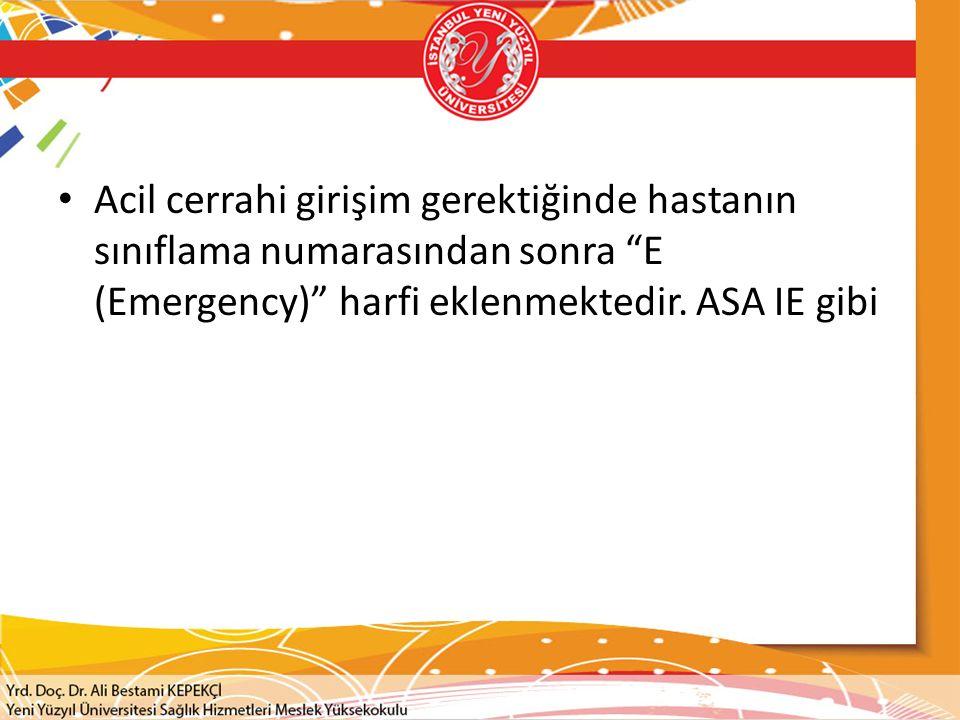 Acil cerrahi girişim gerektiğinde hastanın sınıflama numarasından sonra E (Emergency) harfi eklenmektedir.