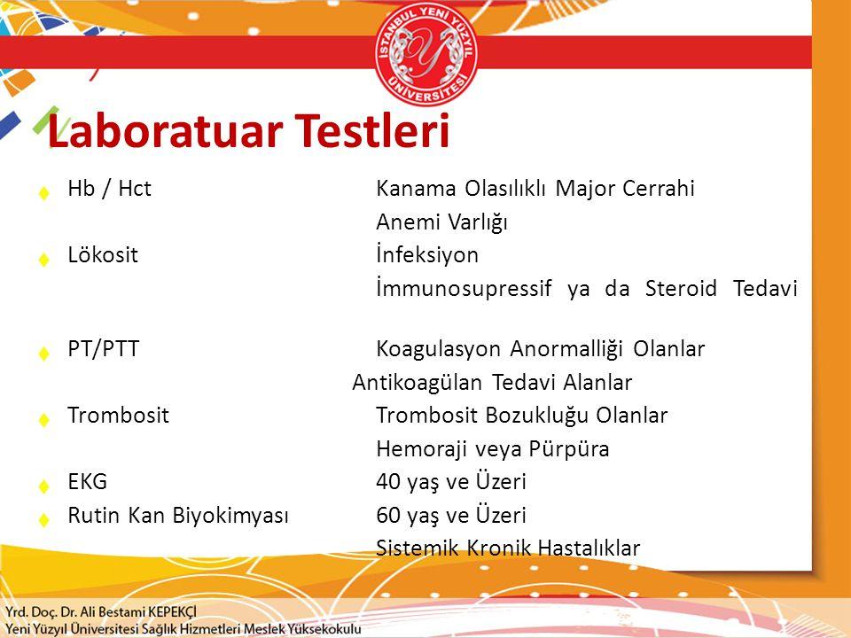 Laboratuar Testleri Hb / Hct Kanama Olasılıklı Major Cerrahi
