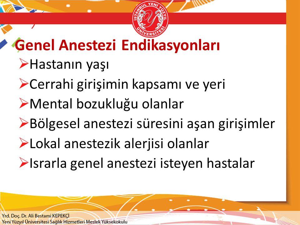 Genel Anestezi Endikasyonları