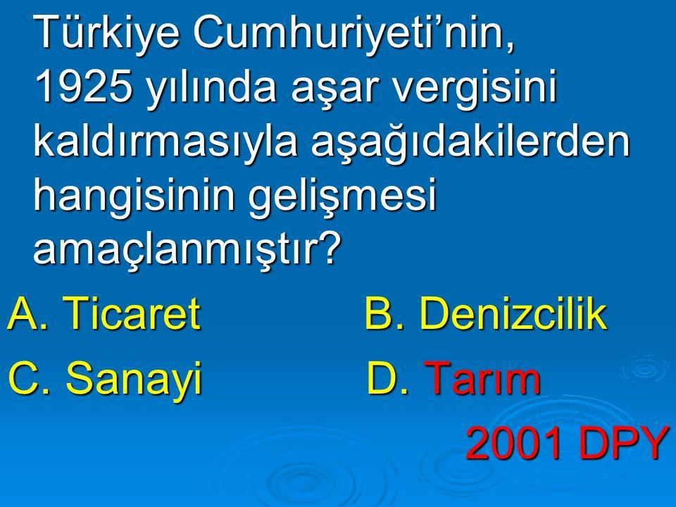 Türkiye Cumhuriyeti'nin, 1925 yılında aşar vergisini kaldırmasıyla aşağıdakilerden hangisinin gelişmesi amaçlanmıştır