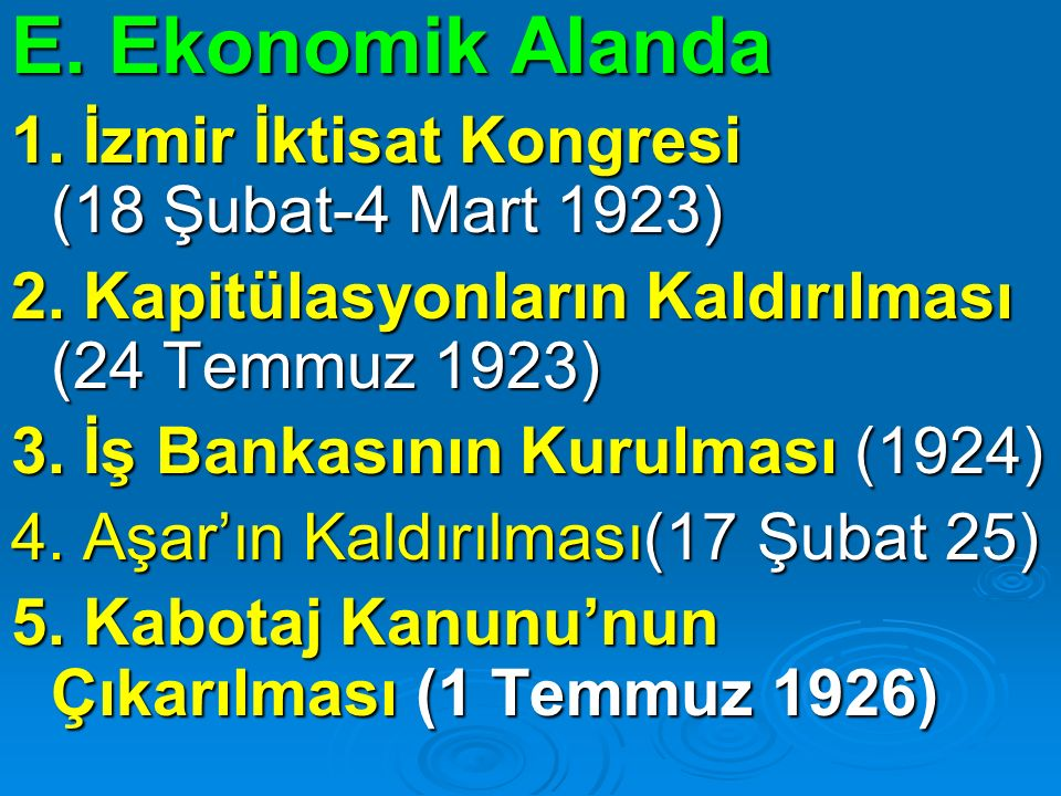E. Ekonomik Alanda 1. İzmir İktisat Kongresi (18 Şubat-4 Mart 1923)