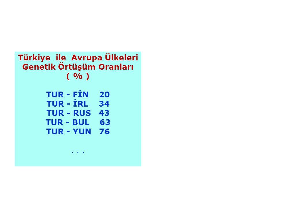 Türkiye ile Avrupa Ülkeleri Genetik Örtüşüm Oranları