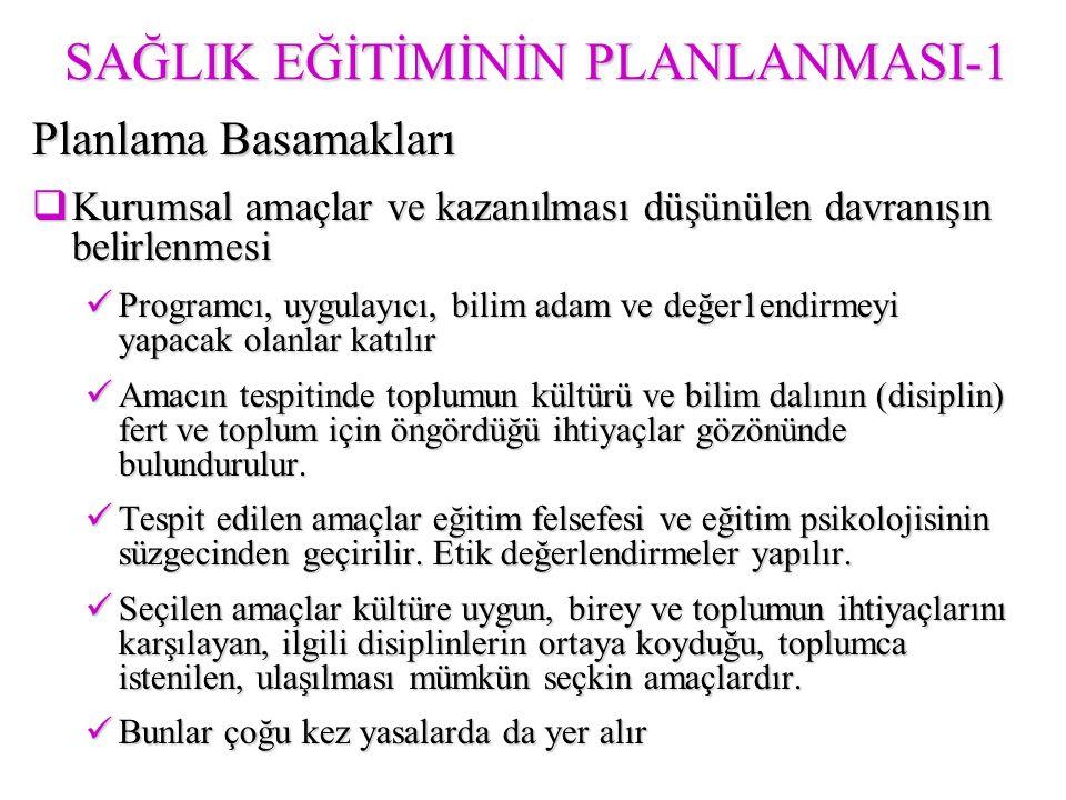 SAĞLIK EĞİTİMİNİN PLANLANMASI-1