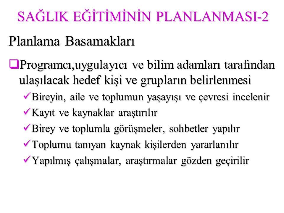 SAĞLIK EĞİTİMİNİN PLANLANMASI-2
