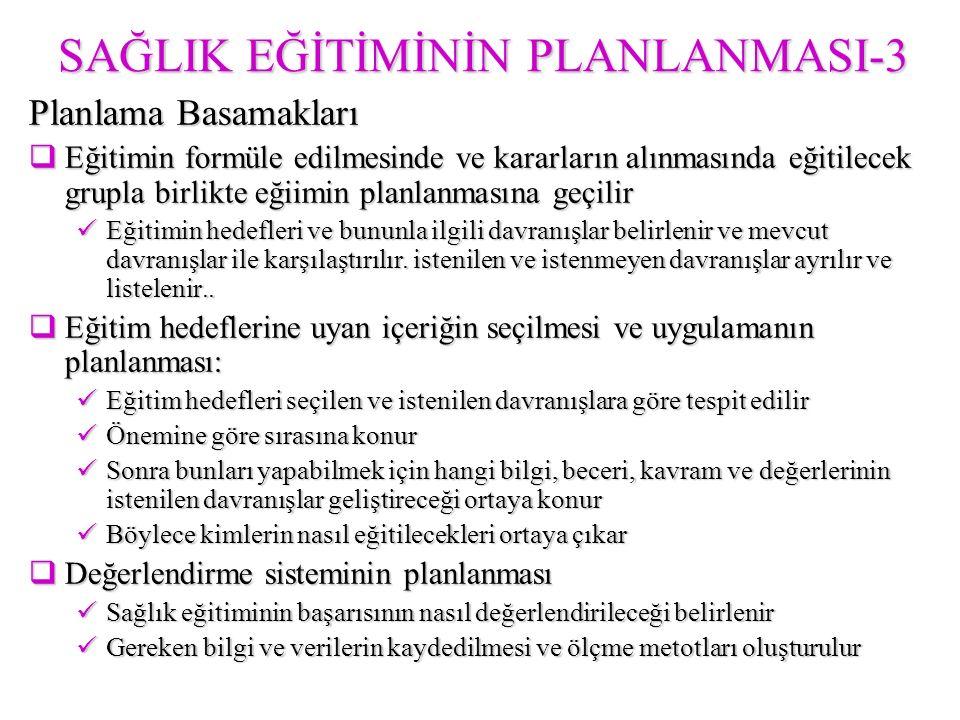 SAĞLIK EĞİTİMİNİN PLANLANMASI-3