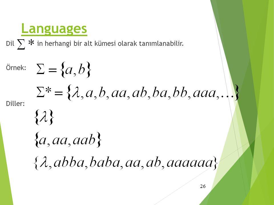 Languages Dil ' in herhangi bir alt kümesi olarak tanımlanabilir. Örnek: Diller: