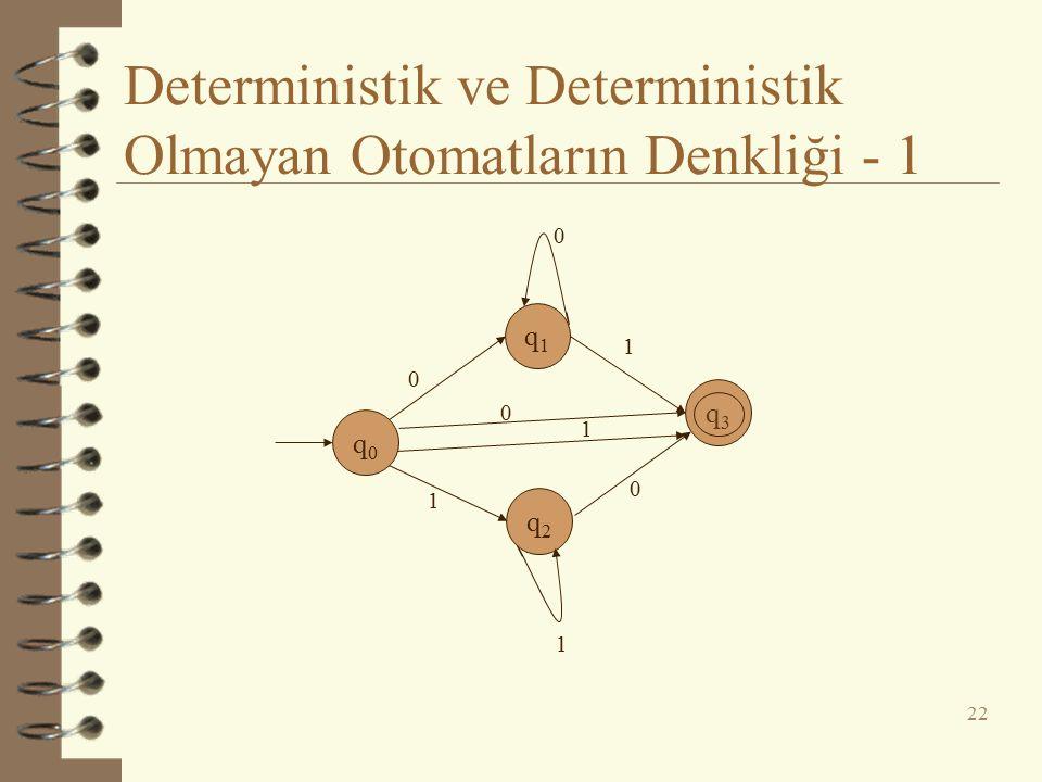 Deterministik ve Deterministik Olmayan Otomatların Denkliği - 1