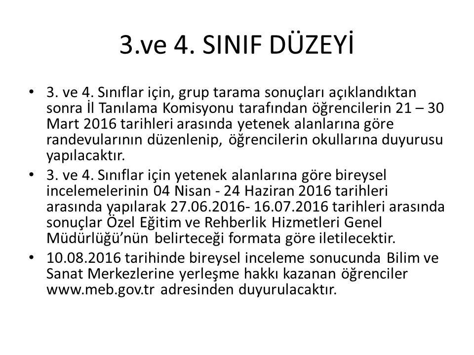 3.ve 4. SINIF DÜZEYİ