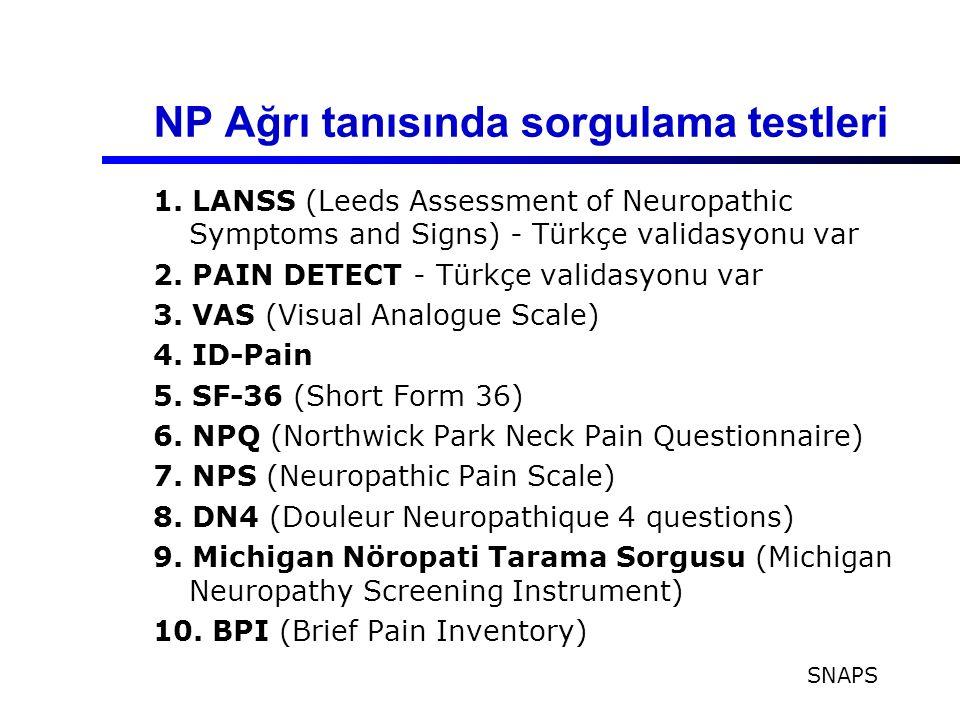 NP Ağrı tanısında sorgulama testleri