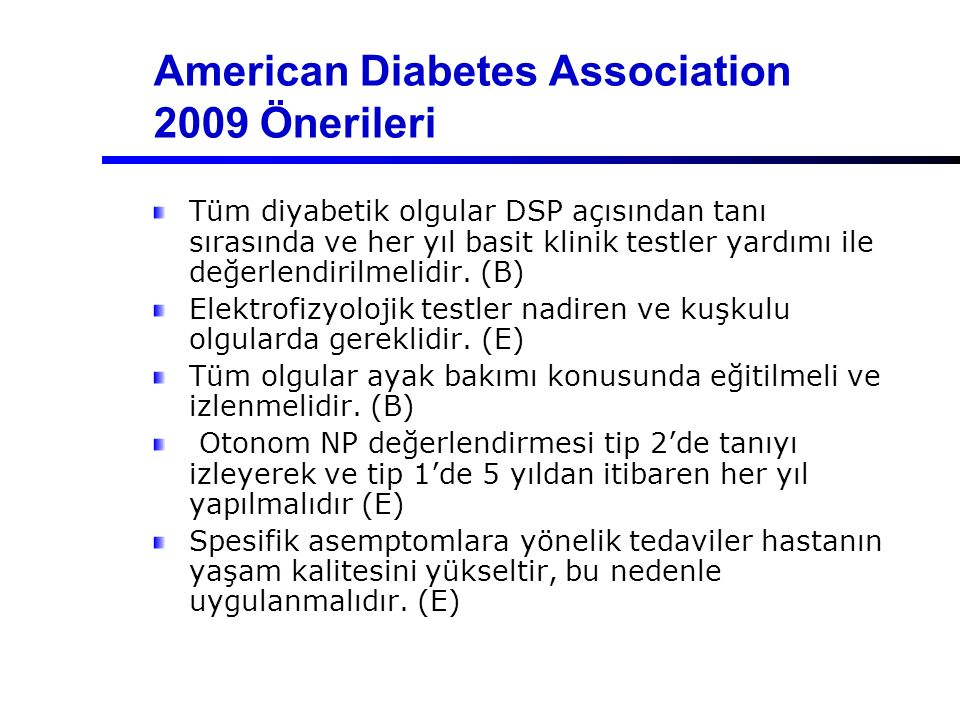 American Diabetes Association 2009 Önerileri