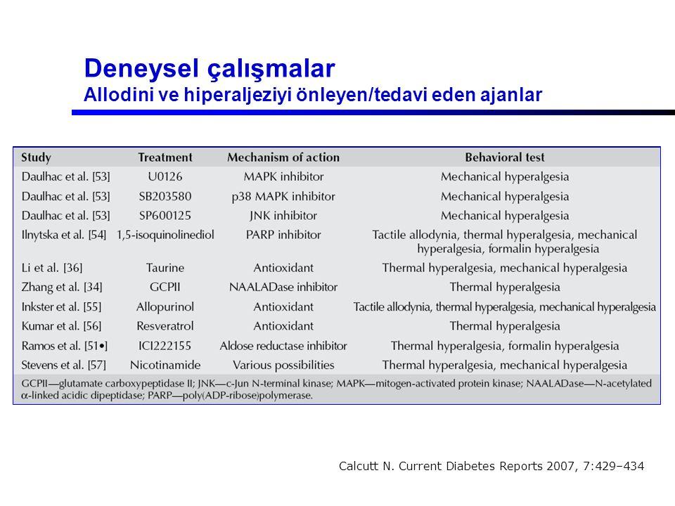 Deneysel çalışmalar Allodini ve hiperaljeziyi önleyen/tedavi eden ajanlar