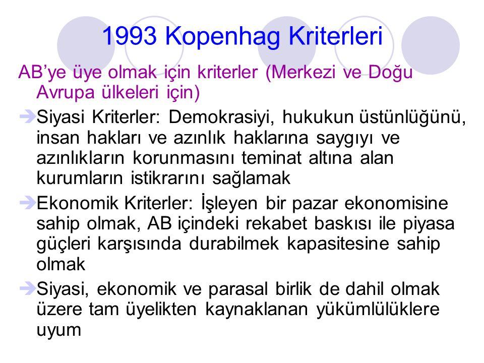 1993 Kopenhag Kriterleri AB'ye üye olmak için kriterler (Merkezi ve Doğu Avrupa ülkeleri için)