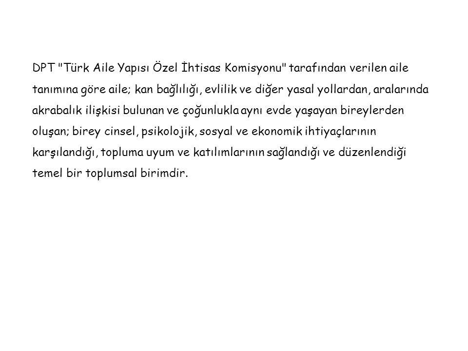 DPT Türk Aile Yapısı Özel İhtisas Komisyonu tarafından verilen aile tanımına göre aile; kan bağlılığı, evlilik ve diğer yasal yollardan, aralarında akrabalık ilişkisi bulunan ve çoğunlukla aynı evde yaşayan bireylerden oluşan; birey cinsel, psikolojik, sosyal ve ekonomik ihtiyaçlarının karşılandığı, topluma uyum ve katılımlarının sağlandığı ve düzenlendiği temel bir toplumsal birimdir.