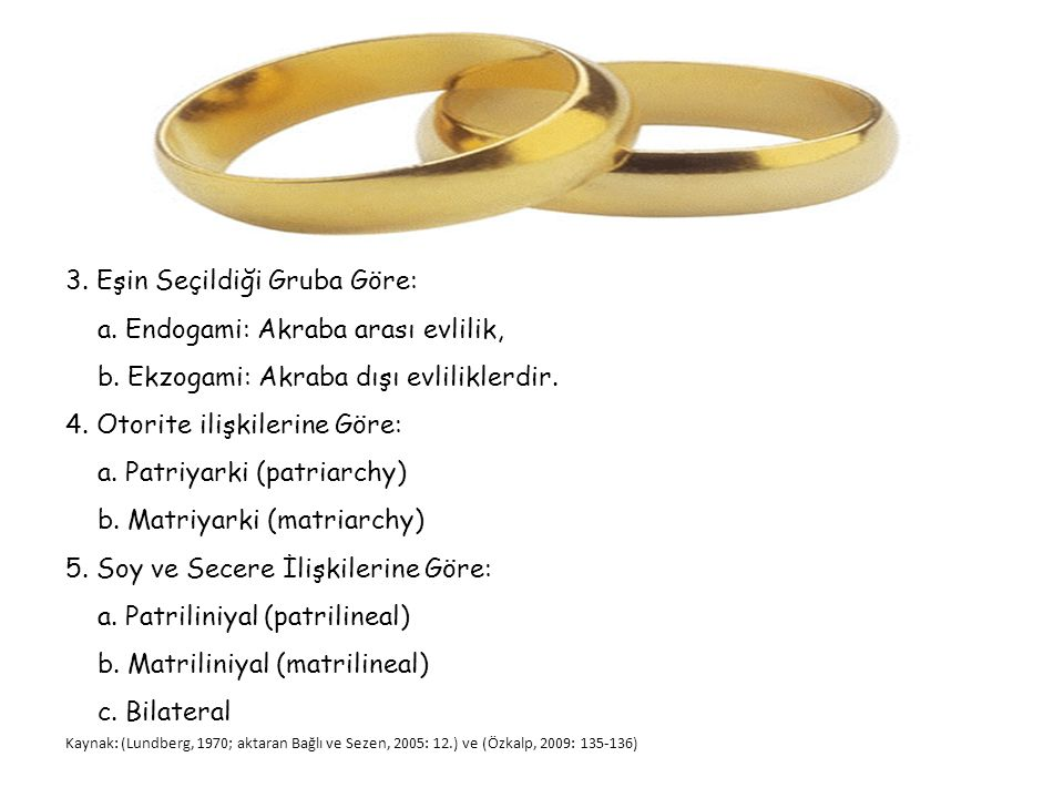 3. Eşin Seçildiği Gruba Göre: a. Endogami: Akraba arası evlilik,