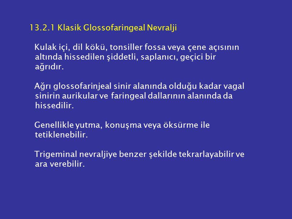 13.2.1 Klasik Glossofaringeal Nevralji