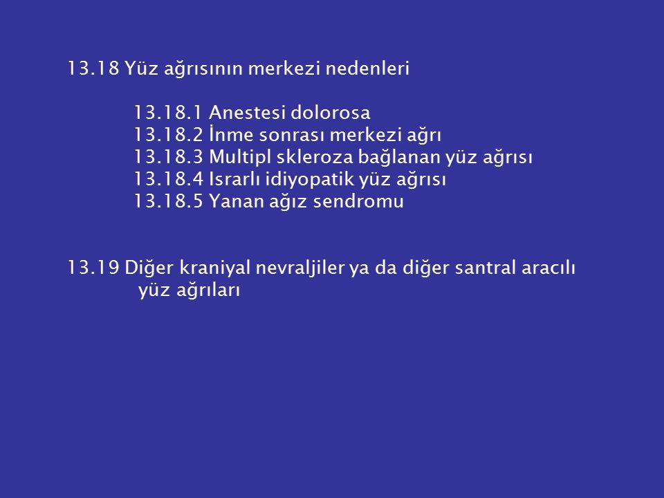 13.18 Yüz ağrısının merkezi nedenleri