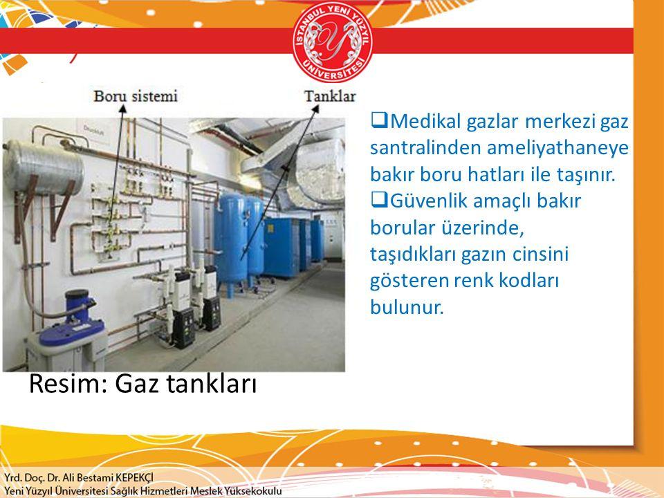 Medikal gazlar merkezi gaz santralinden ameliyathaneye bakır boru hatları ile taşınır.
