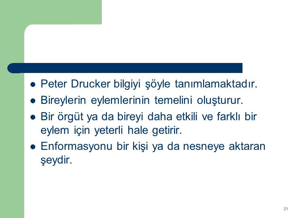 Peter Drucker bilgiyi şöyle tanımlamaktadır.