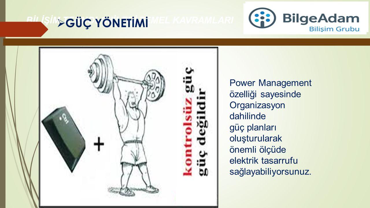 GÜÇ YÖNETİMİ Power Management özelliği sayesinde Organizasyon