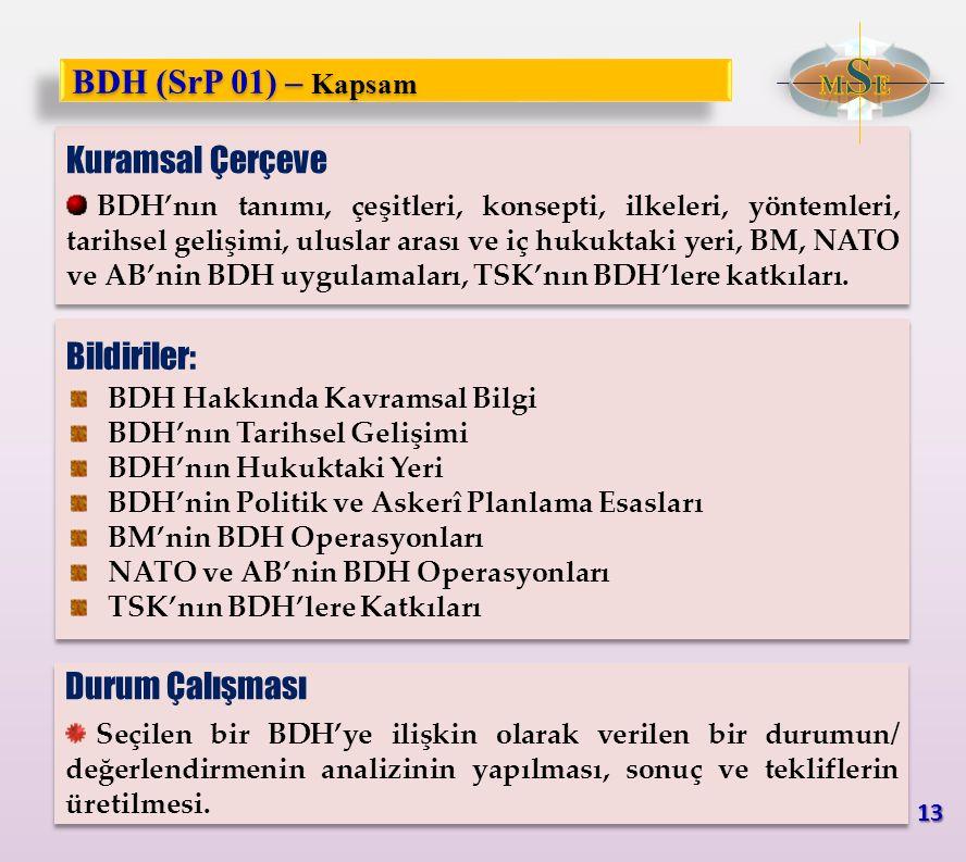 BDH (SrP 01) – Kapsam Kuramsal Çerçeve Bildiriler: Durum Çalışması