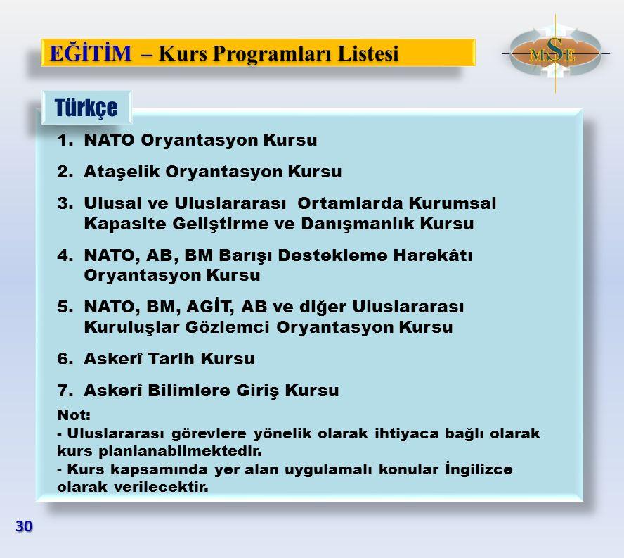 EĞİTİM – Kurs Programları Listesi