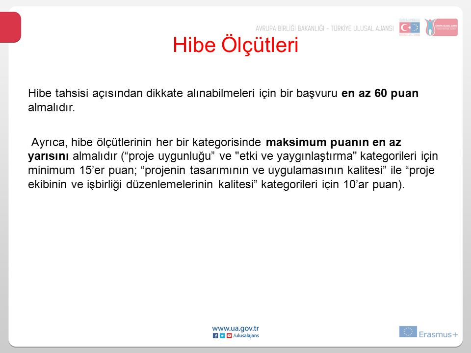 Hibe Ölçütleri Hibe tahsisi açısından dikkate alınabilmeleri için bir başvuru en az 60 puan. almalıdır.