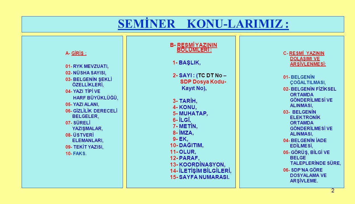SEMİNER KONU-LARIMIZ :