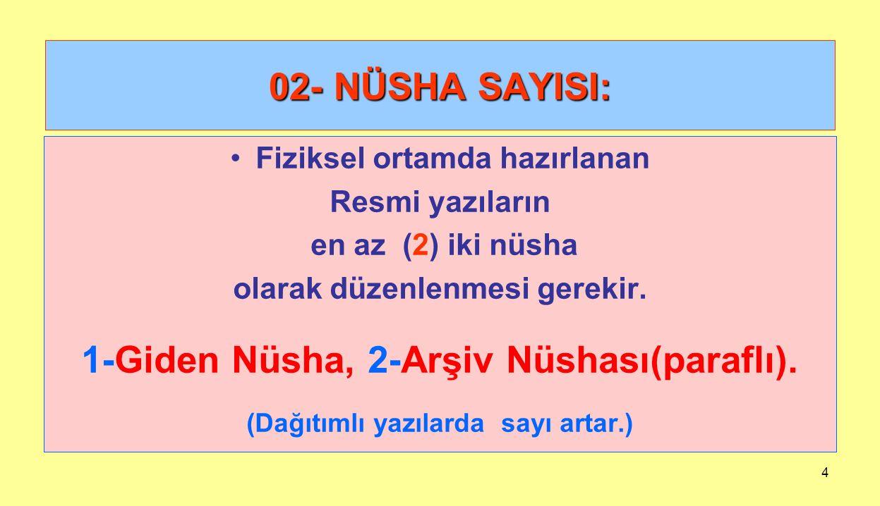 02- NÜSHA SAYISI: 1-Giden Nüsha, 2-Arşiv Nüshası(paraflı).