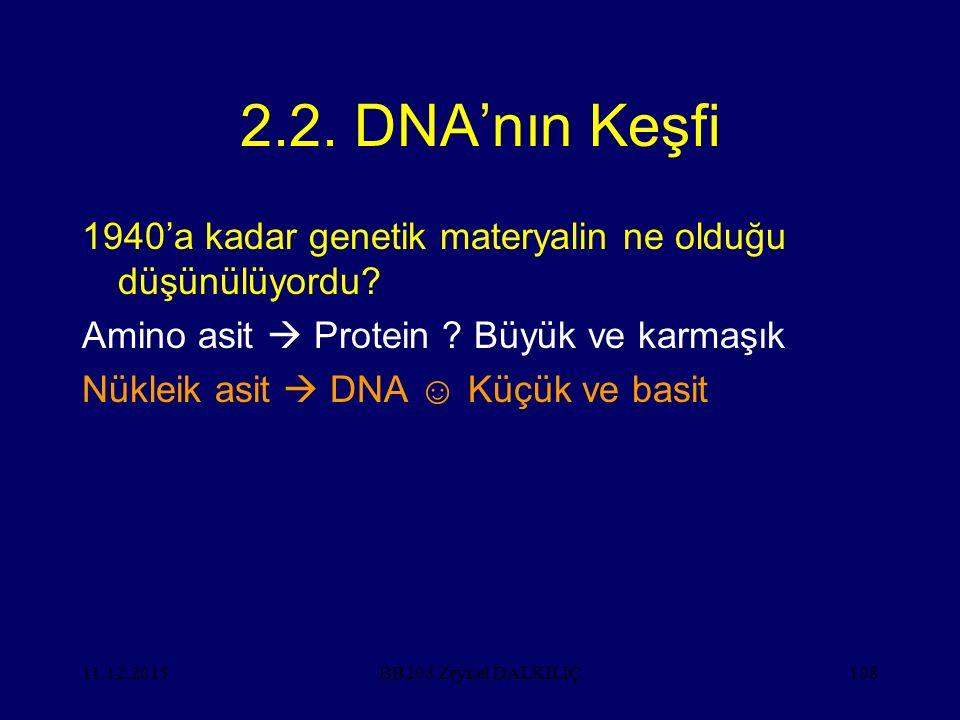 2.2. DNA'nın Keşfi 1940'a kadar genetik materyalin ne olduğu düşünülüyordu Amino asit  Protein Büyük ve karmaşık.
