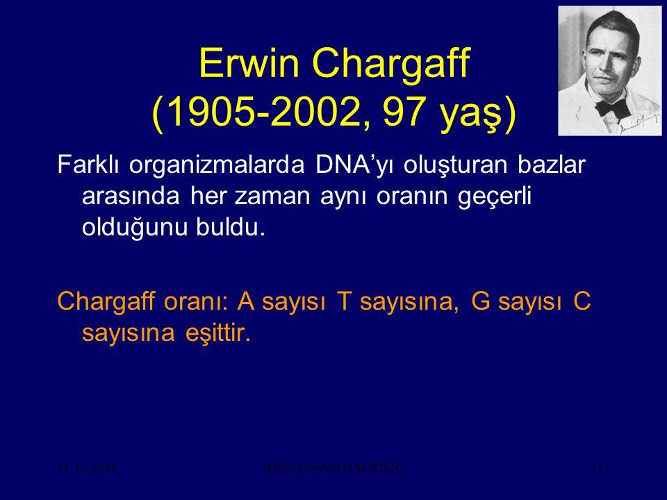 Erwin Chargaff (1905-2002, 97 yaş) Farklı organizmalarda DNA'yı oluşturan bazlar arasında her zaman aynı oranın geçerli olduğunu buldu.