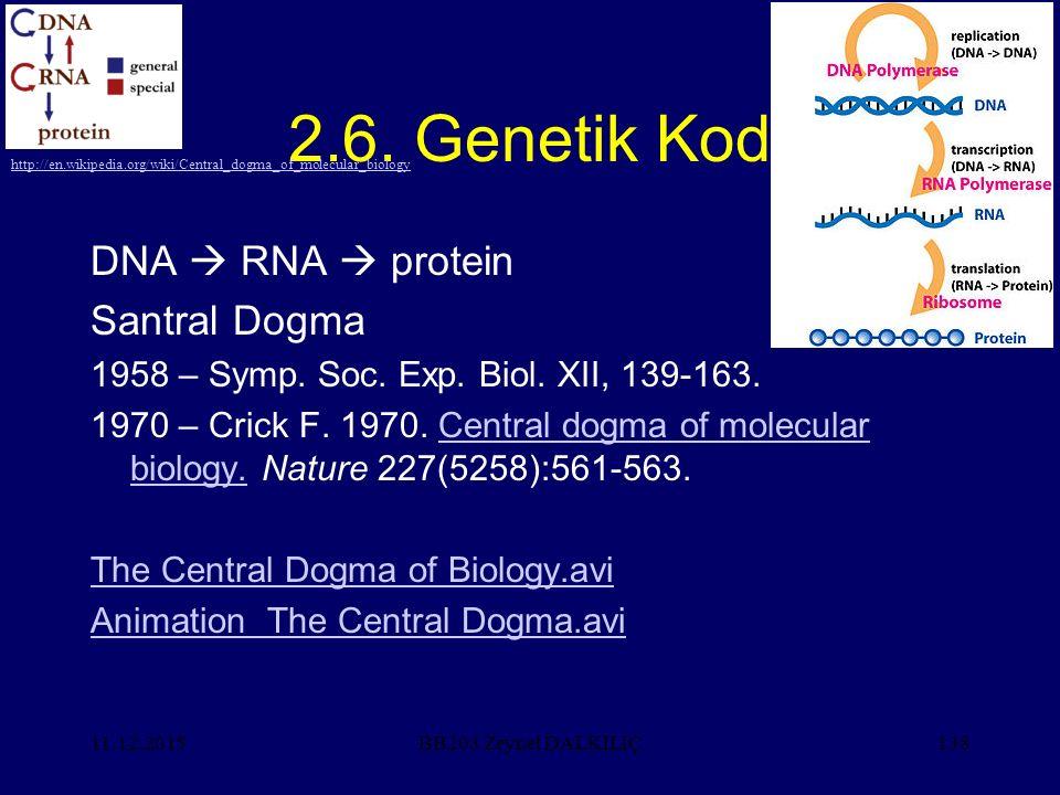 2.6. Genetik Kod DNA  RNA  protein Santral Dogma