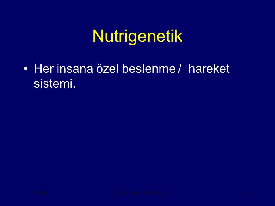 Nutrigenetik Her insana özel beslenme / hareket sistemi. 25.04.2017