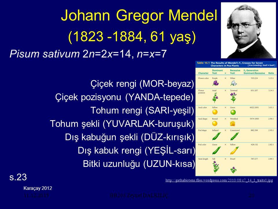 Johann Gregor Mendel (1823 -1884, 61 yaş)