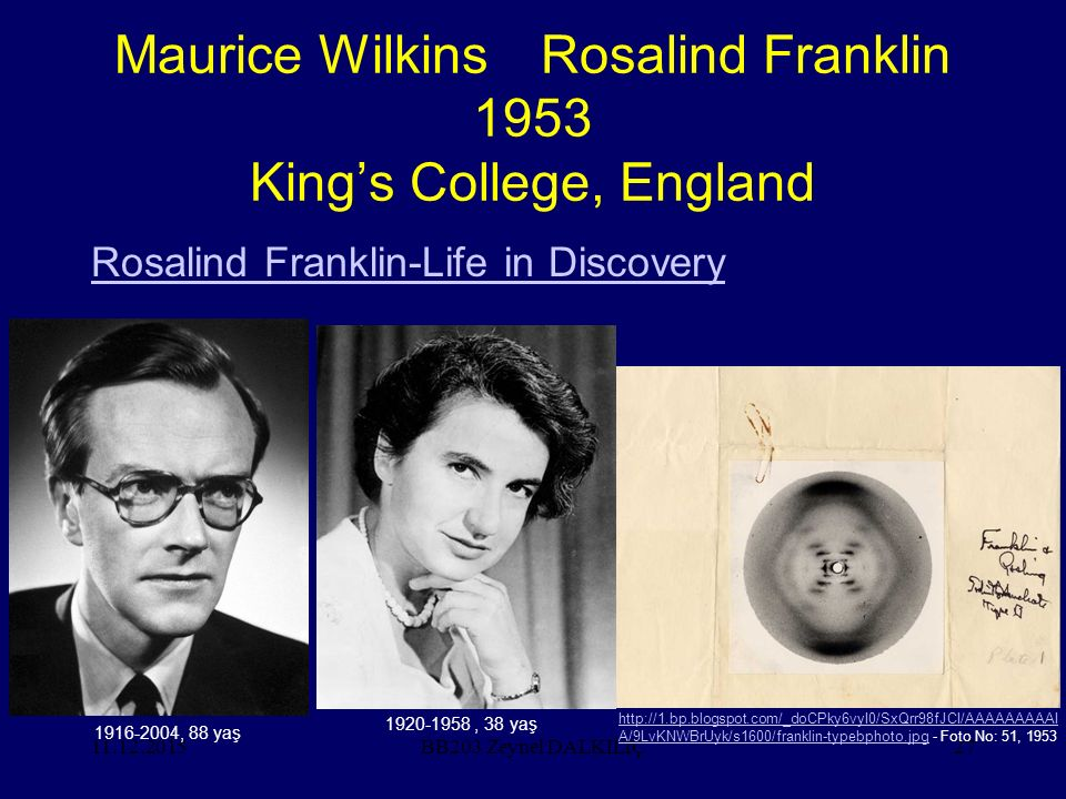 Maurice Wilkins Rosalind Franklin 1953 King's College, England