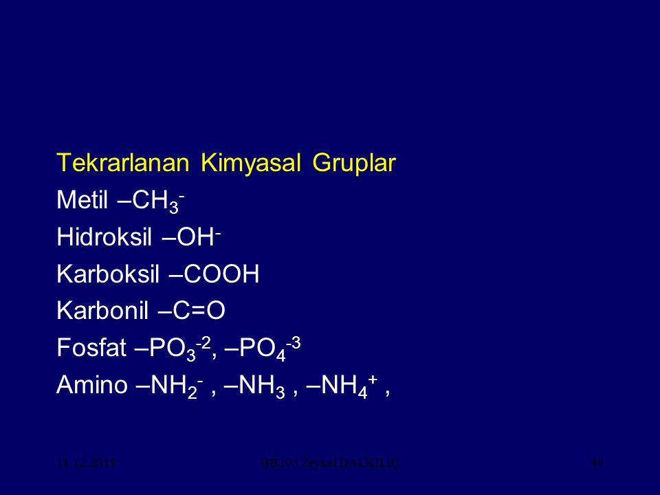Tekrarlanan Kimyasal Gruplar Metil –CH3- Hidroksil –OH-