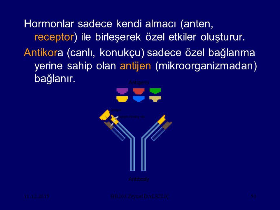 Hormonlar sadece kendi almacı (anten, receptor) ile birleşerek özel etkiler oluşturur.