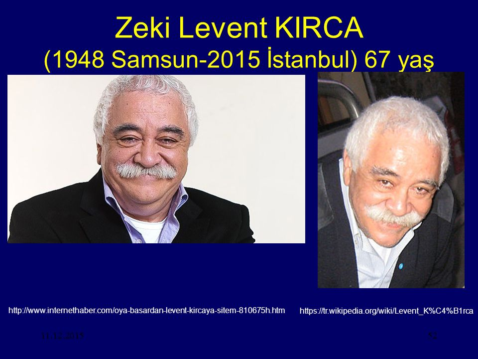Zeki Levent KIRCA (1948 Samsun-2015 İstanbul) 67 yaş