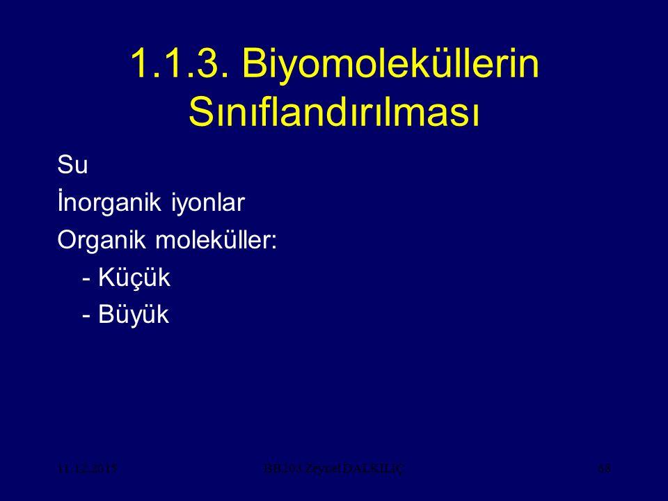 1.1.3. Biyomoleküllerin Sınıflandırılması