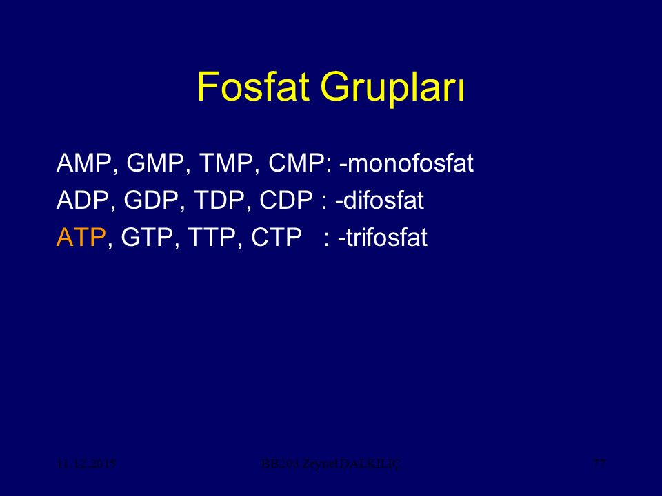 Fosfat Grupları AMP, GMP, TMP, CMP: -monofosfat
