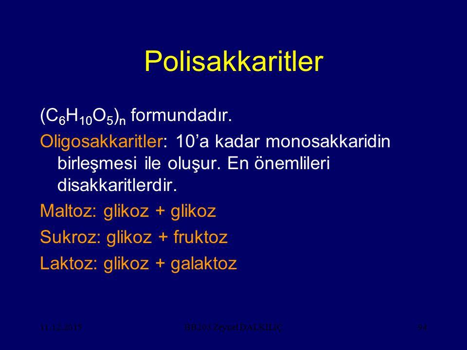 Polisakkaritler (C6H10O5)n formundadır.