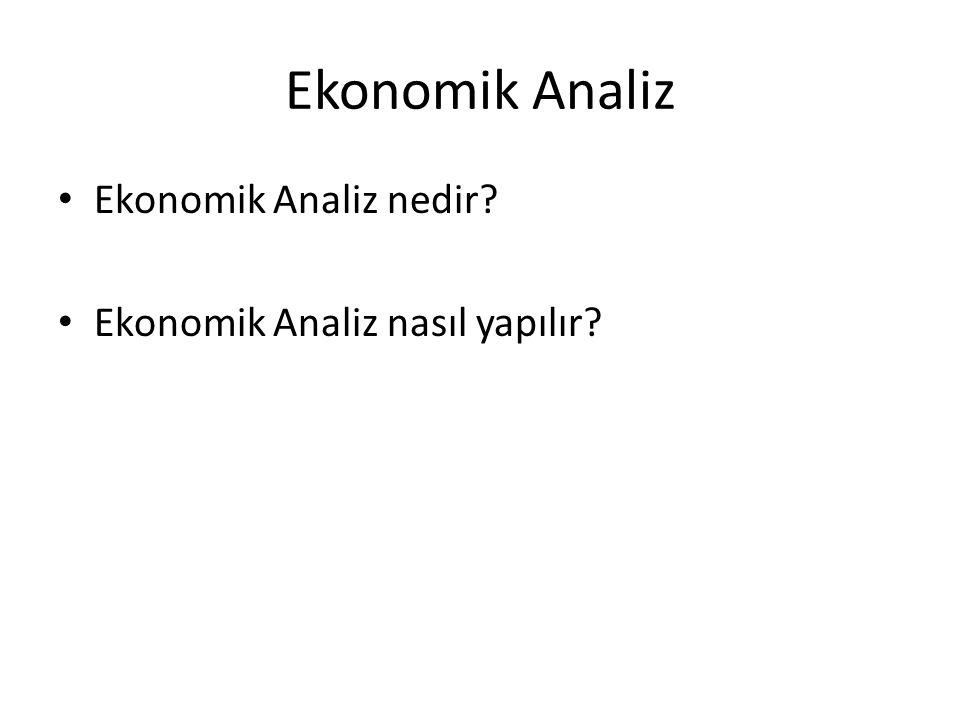 Ekonomik Analiz Ekonomik Analiz nedir Ekonomik Analiz nasıl yapılır