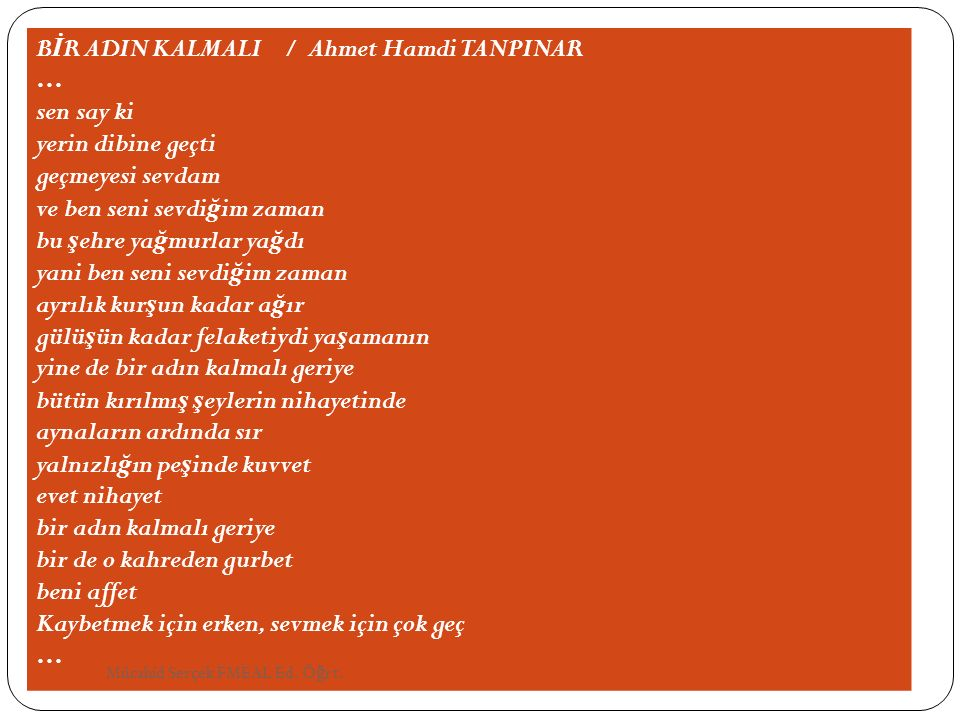BİR ADIN KALMALI / Ahmet Hamdi TANPINAR