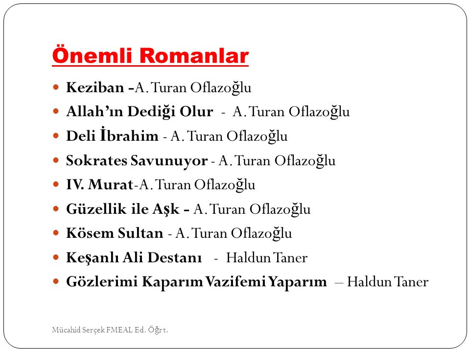 Önemli Romanlar Keziban -A. Turan Oflazoğlu