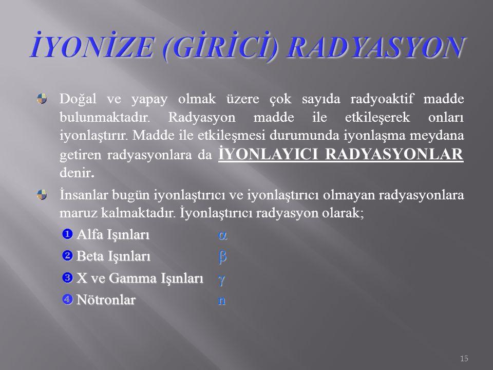 İYONİZE (GİRİCİ) RADYASYON