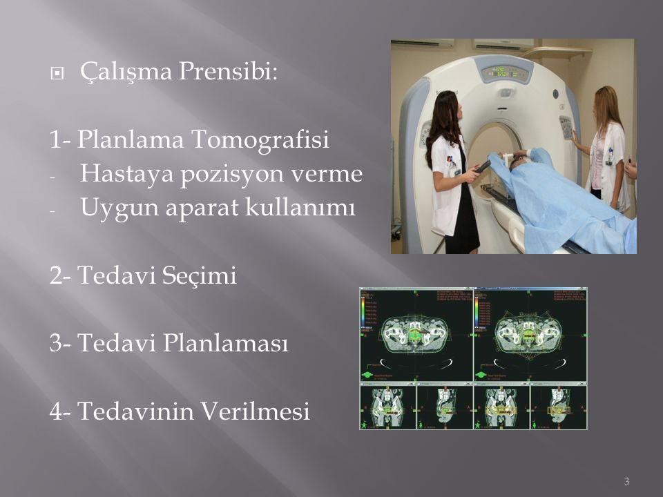 Çalışma Prensibi: 1- Planlama Tomografisi. Hastaya pozisyon verme. Uygun aparat kullanımı. 2- Tedavi Seçimi.