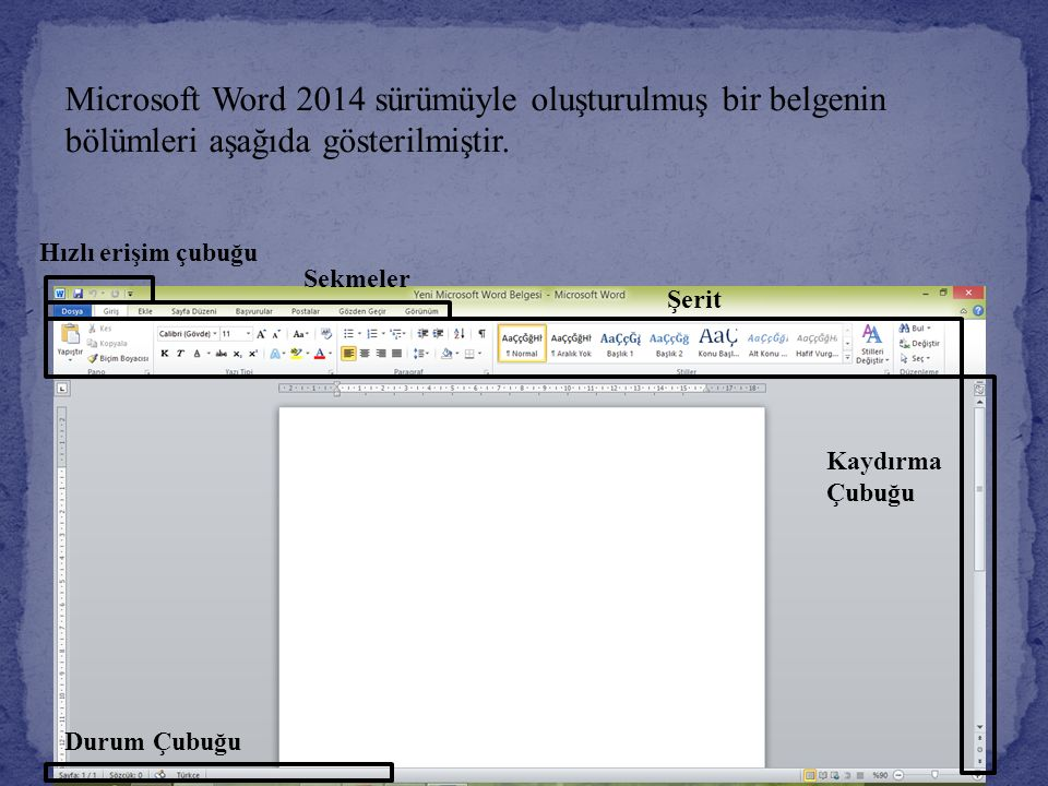 Microsoft Word 2014 sürümüyle oluşturulmuş bir belgenin bölümleri aşağıda gösterilmiştir.