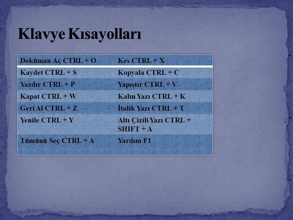 Klavye Kısayolları Doküman Aç CTRL + O Kes CTRL + X Kaydet CTRL + S