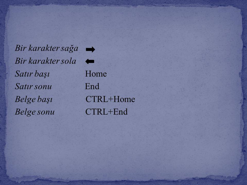 Bir karakter sağa Bir karakter sola Satır başı Home Satır sonu End Belge başı CTRL+Home Belge sonu CTRL+End