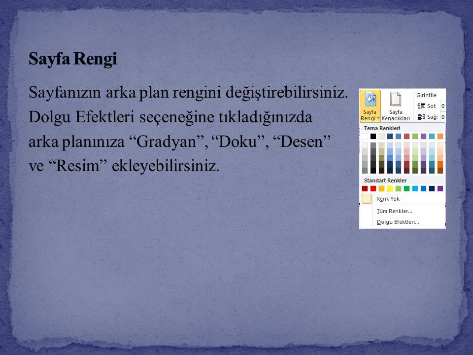 Sayfa Rengi