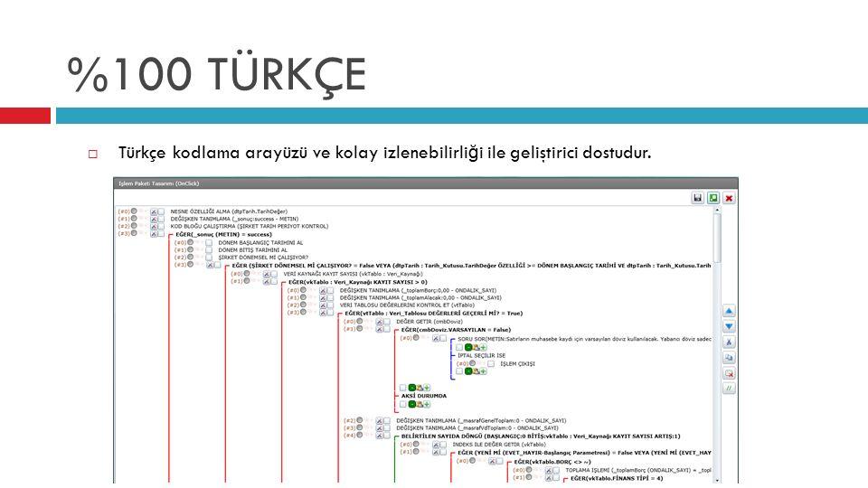 %100 TÜRKÇE Türkçe kodlama arayüzü ve kolay izlenebilirliği ile geliştirici dostudur.